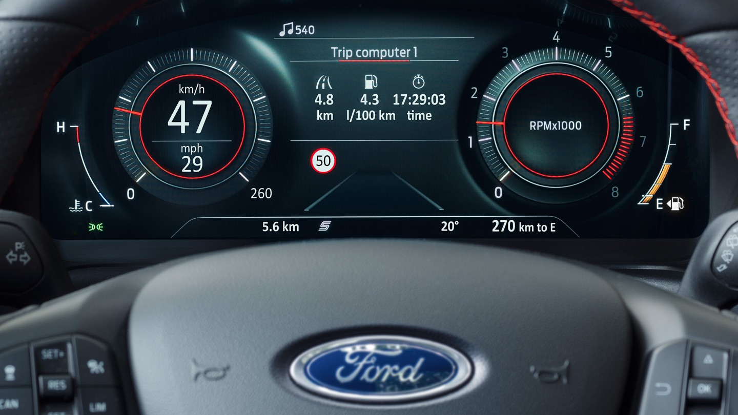 Ford Puma STclose up on cluster indicating traffic sign